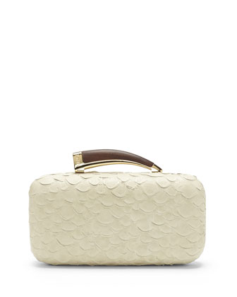 Snake-Embossed Leather Horn Clutch, Vanilla