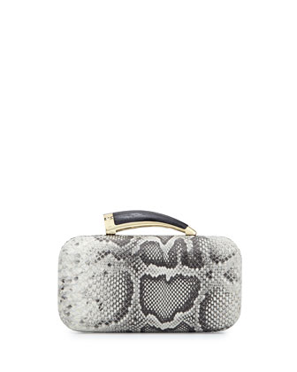 Safari Python-Embossed Leather Horn Clutch, Black/White