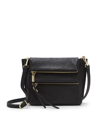 Faye Double-Zip Crossbody Bag, Black