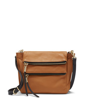 Faye Double-Zip Crossbody Bag, Burnt Caramel/Black