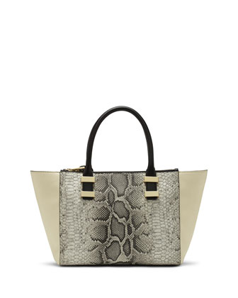Mandy Snake-Embossed Leather Combo Satchel Bag, Safari Python/Ivory