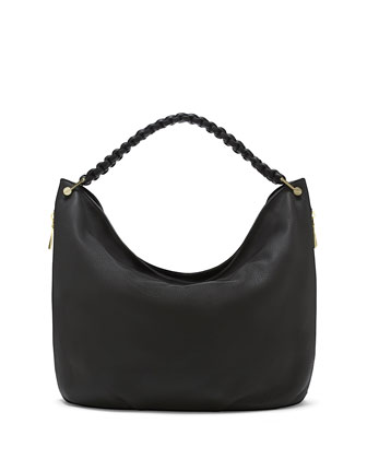 Nora Knotted Pebbled Leather Hobo Bag, Black