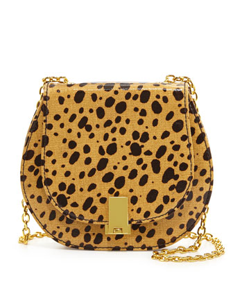 Loren Cheetah-Print Crossbody Bag, Natural