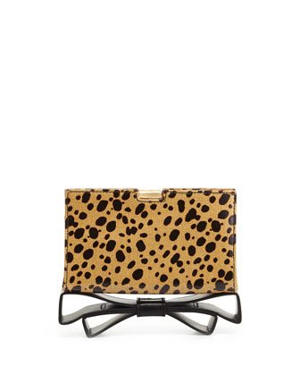 Milla Small Frame Cheetah Print Bow Clutch