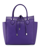 Large Miranda Grained Tote, Grape