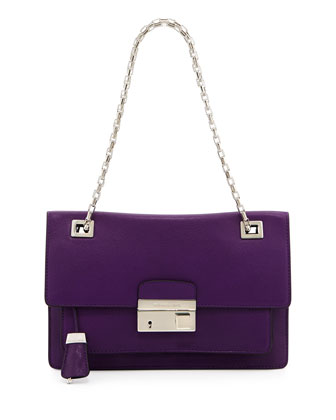 Gia Flap Shoulder Bag, Grape