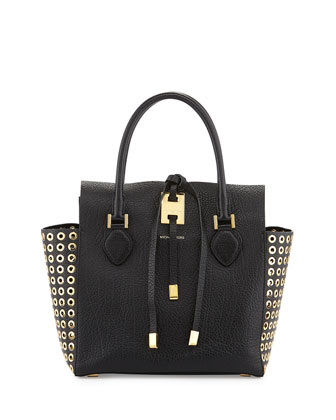 Miranda Grommet-Side Tote, Black
