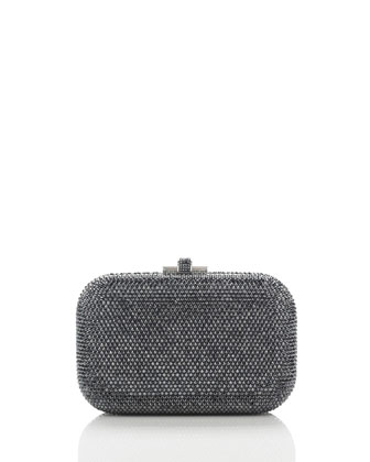 Crystal Slide-Lock Clutch Bag, Hematite