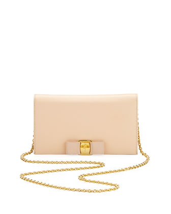 Vara Saffiano Leather Wallet-on-a-Chain, Quarzo Rosa