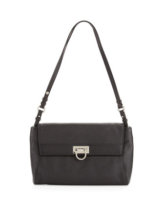 Abbey Leather Shoulder Bag, Black