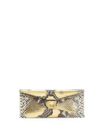Prunella Stretch Python Clutch Bag