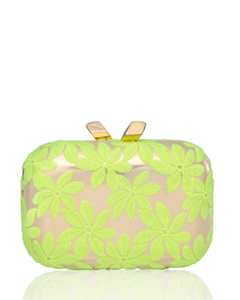 Margo Floral-Embroidered Minaudiere, Yellow/Gold