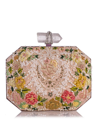 Iris Floral Embroidered Box Clutch Bag, Multi