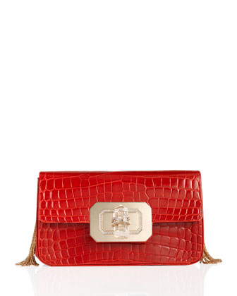 Phoebe Large Crocodile Shoulder Bag, Scarlet