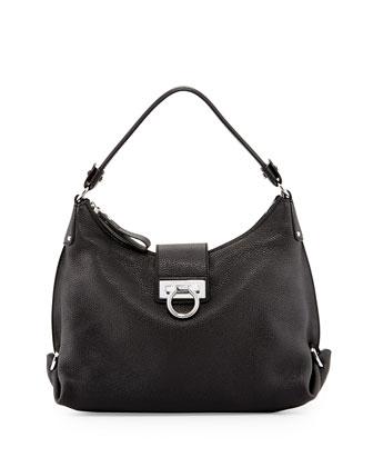 Fanisa Mediterraneo Gancini Hobo Bag, Black