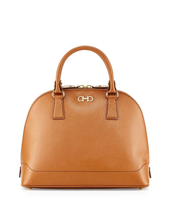 New Gancini Icona Vitello Dome Satchel, Tan
