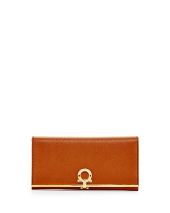 Gancini Icona Bar Continental Wallet, Palissandro (Tan)