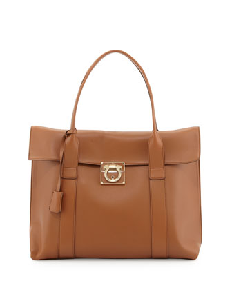 Sookie Large Lock Story Satchel Bag, Tan