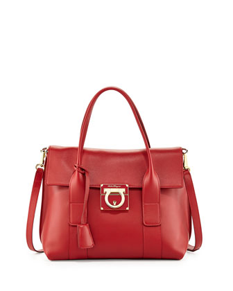Sookie Small Lock Story Satchel Bag, Rosso
