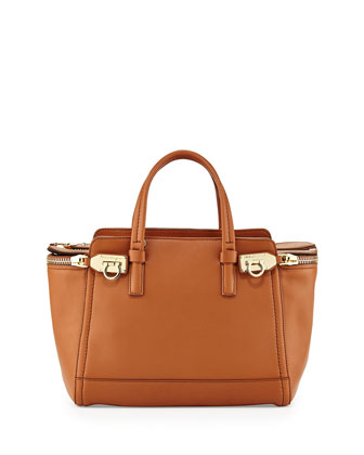 Verve Light Small Gancio Zip Tote Bag, Palissandro (Tan)