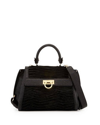 Sofia Mediterraneo Calf Hair Satchel Bag, Nero (Black)