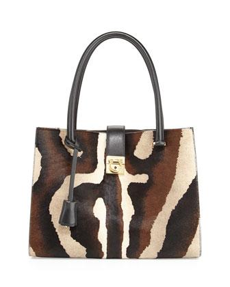 Marlene Lock Story Zebra-Print Tote Bag, Cacao