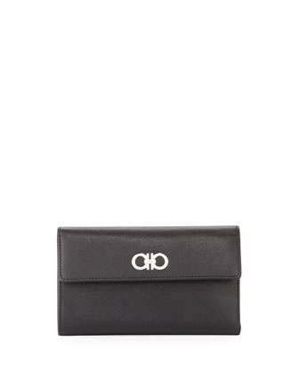 Gancini Icona Continental Phone Wallet, Nero (Black)