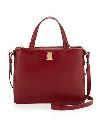 Tracy Saffiano Vara Satchel Bag, Rosso