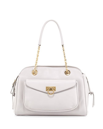 A-Line Pocket Chain Shoulder Bag, Plume