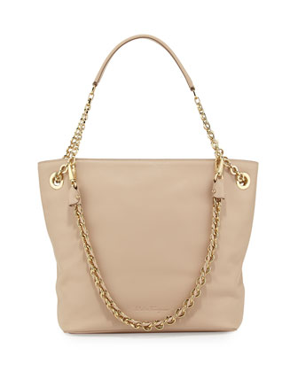Malia Smooth Leather Shoulder Bag, New Bisque