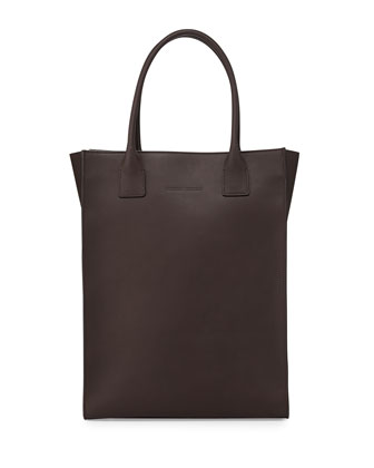Monili Beaded Leather North-South Tote Bag, Dark Gray