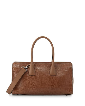 Pebbled East-West Tote Bag, Tan
