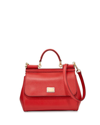 Miss Sicily Small Satchel Bag, Red