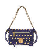 Flat Studs Small Gotham Shoulder Bag, Blue