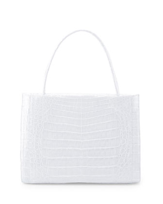 Wallis Medium Crocodile Bag, White