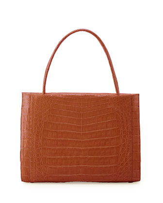 Wallis Medium Crocodile Bag, Cognac