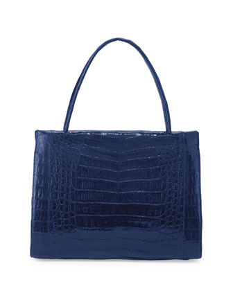 Wallis Medium Crocodile Bag, Electric Blue