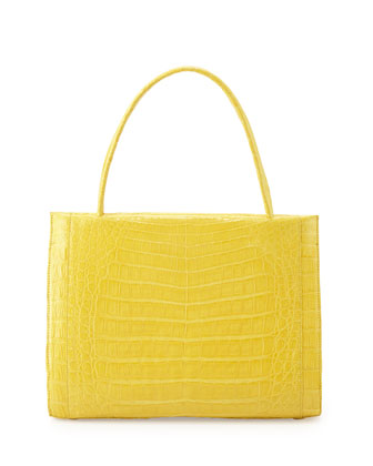 Wallis Medium Crocodile Bag, Yellow