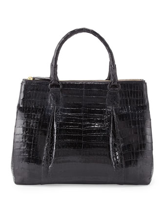Plisse Large Crocodile Tote Bag, Black