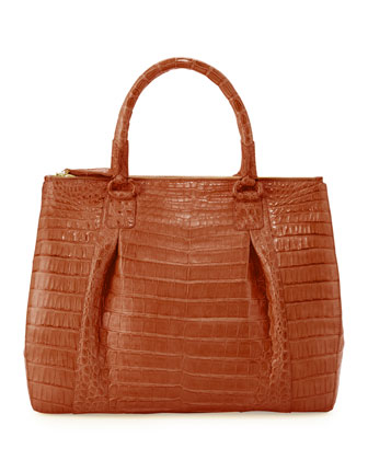 Plisse Large Crocodile Tote Bag, Cognac