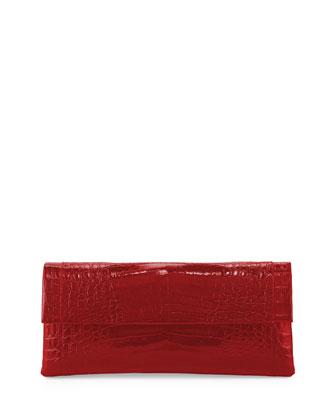 Crocodile Flap Clutch Bag, Red