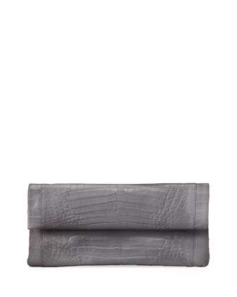 Crocodile Flap Clutch Bag, Gray