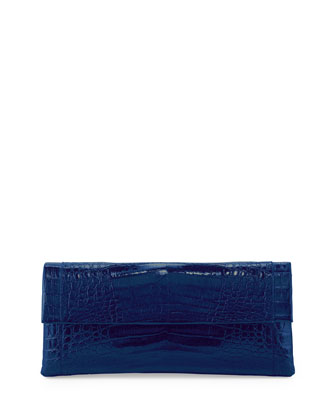 Crocodile Flap Clutch Bag, Electric Blue