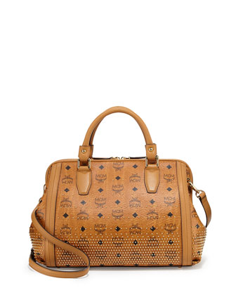Visetos Medium Boston Satchel Bag, Cognac