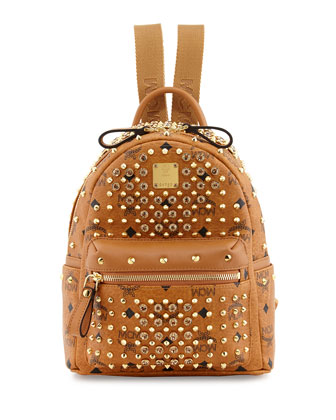 Gold Visetos Mini Leather Backpack, Cognac