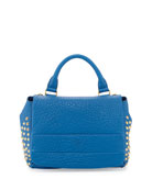 Keana Studded Lambskin Satchel Bag, Blue
