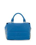 Keana Studded Lambskin Satchel Bag, Blue