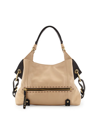 Marissa Studded Leather Satchel Bag, Sand Multi