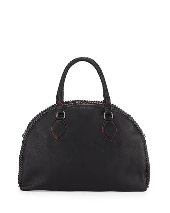 Panettone Large Spiked Satchel Bag, Black