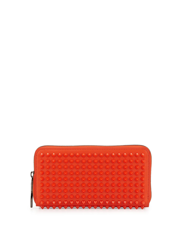 Panettone Spiked Zip Wallet, Orange   Christian Louboutin   Orange